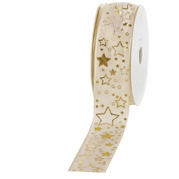 """Geschenkband """"Starlet"""" creme/gold 40mm 25m"""