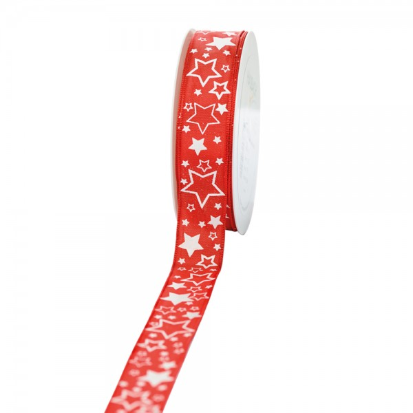 """Geschenkband """"Starlet"""" rot/weiß 25mm 25m"""