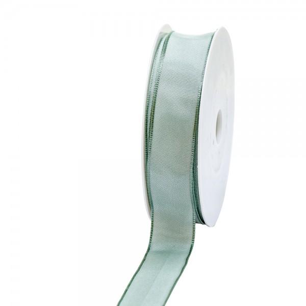 Geschenkband Stoff m. Draht 25mm/25Meter pastellgrün