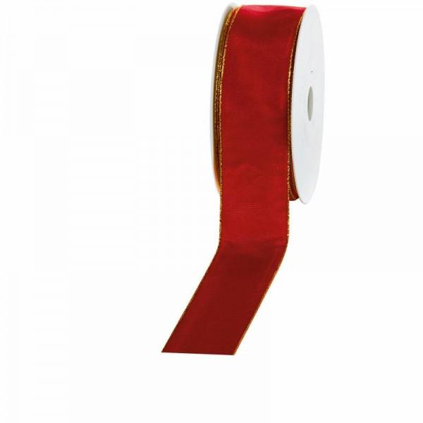 """Geschenkband """"Goldkante"""" bordeaux 40mm 25m"""