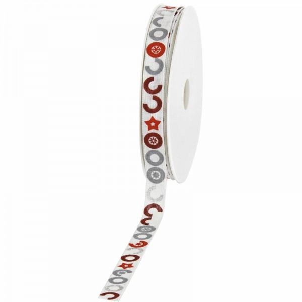 """Geschenkband """"Circles"""" weiß/rot/grau 15mm 20m"""