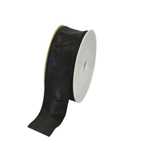 Geschenkband Stoff m. Draht 40mm/25Meter schwarz