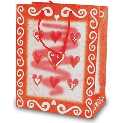 Tragetaschen 9 Herzen rot 18x10x23 cm