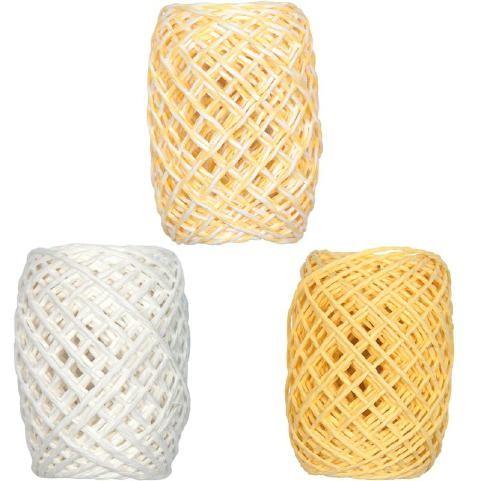 Papierkordel-Set 3x15m weiß/gelb-weiß/gelb