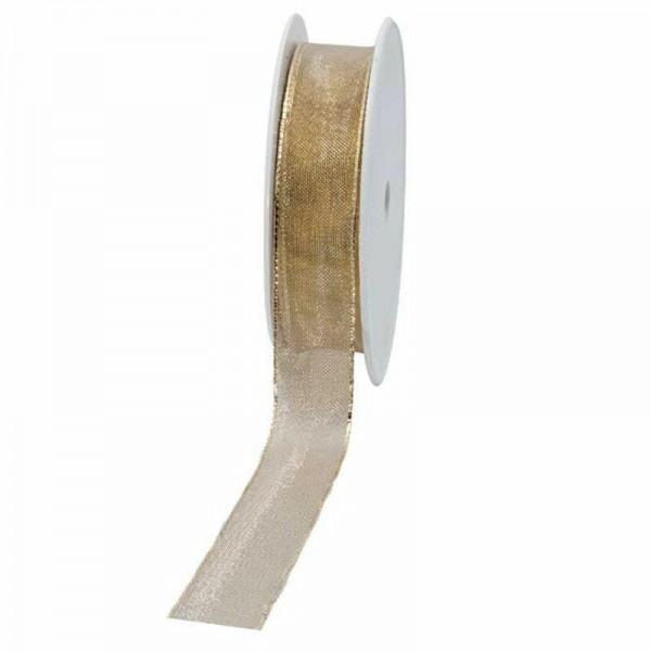 Geschenkband transparent 25mm 25Meter gold