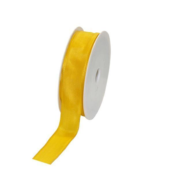 Geschenkband Stoff m. Draht 25mm/25Meter gelb