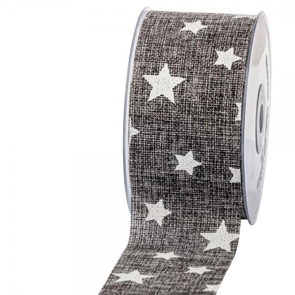 Geschenkband in Juteoptik Grau/Sterne weiß 63mm 20m