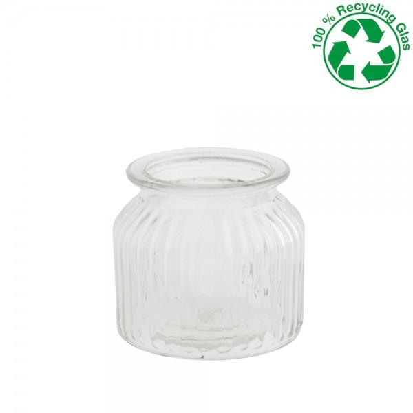 Glas rund gerippt Höhe 10,5cm Ø 11cm
