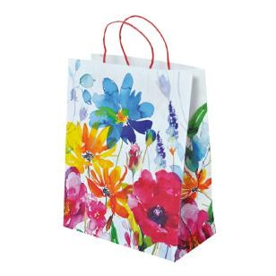 "Papier Tragetaschen ""Floral"" 26,4x13,6x32,7cm"