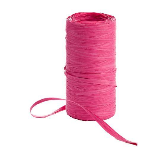 Raphia Band auf Rolle 200Meter pink
