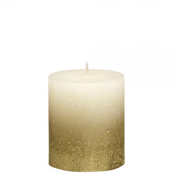 Stumpenkerze Rustik 8cm Ø 6,8cm Creme mit Metallic gold