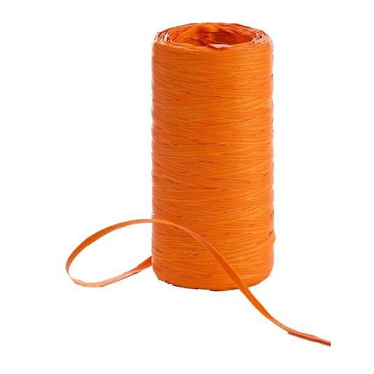 Raphia Band auf Rolle 200Meter orange