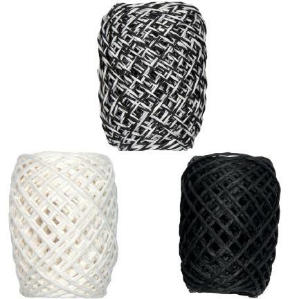 Papierkordel-Set 3x15m weiß/schwarz-weiß/schwarz