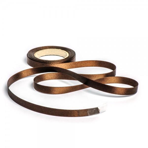 Geschenkband mit Druck 15mm breit 100 Meter schokobraun