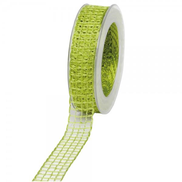 Geschenkband Gitter 25mm/20Meter hellgrün