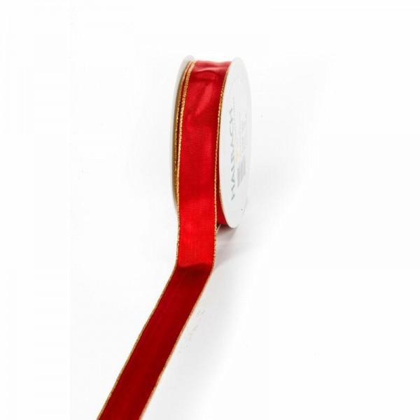 """Geschenkband """"Goldkante"""" rot 25mm 25m"""