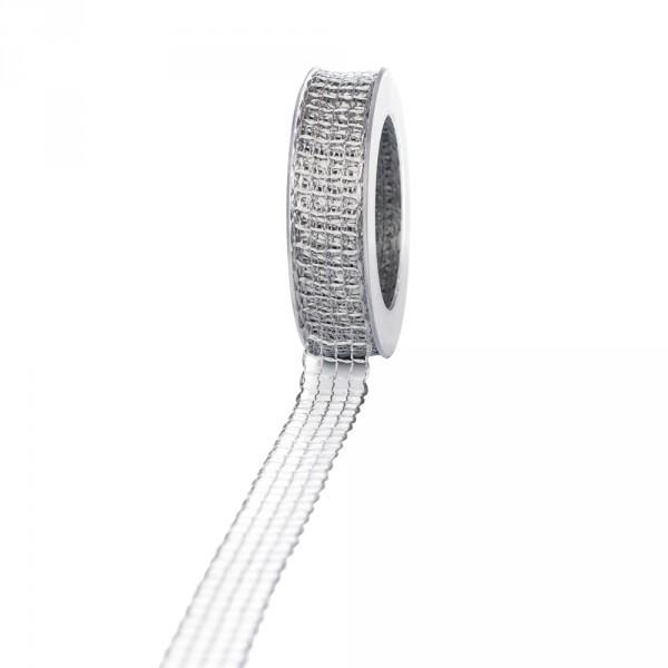Geschenkband Gitter 25mm/25 meter grau