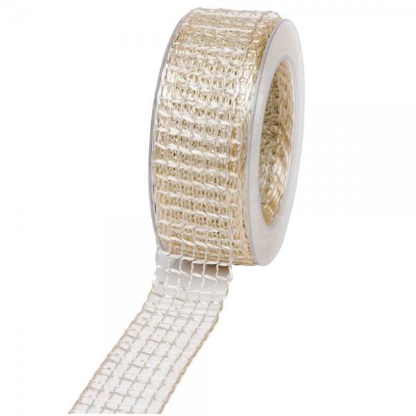 Geschenkband Gitter 40mm/20Meter creme