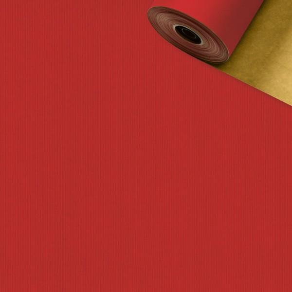 Geschenkpapier Rolle 50cm 50Meter 2-seitig rot/gold