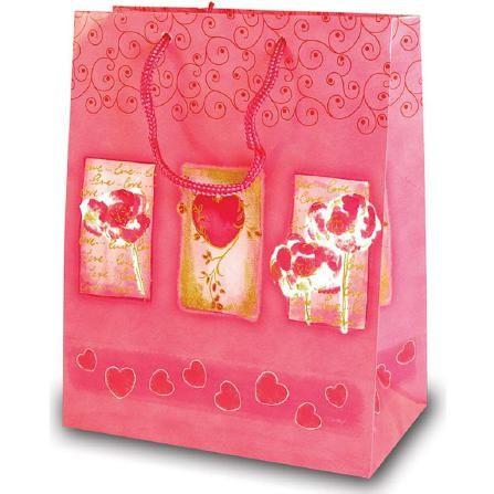 Tragetaschen Herzmotiv rosa 18x10x23 cm
