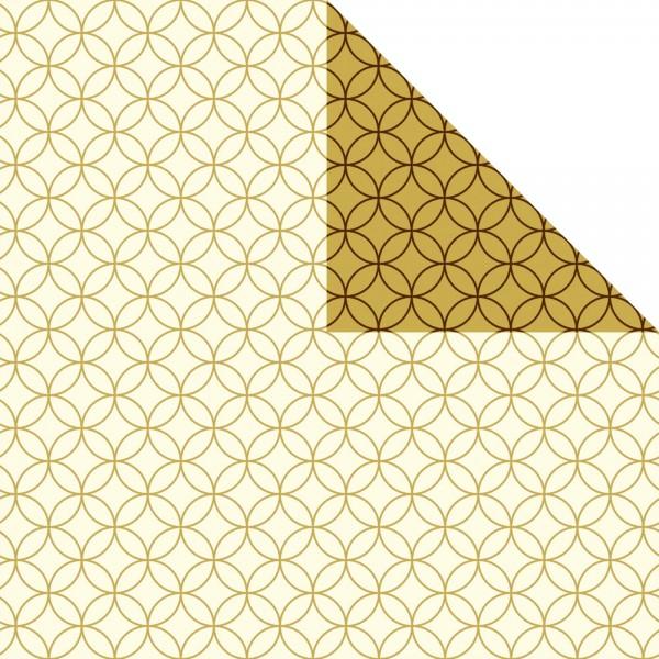 Geschenkpapier Rolle 50cm 250Meter creme/gold Circles