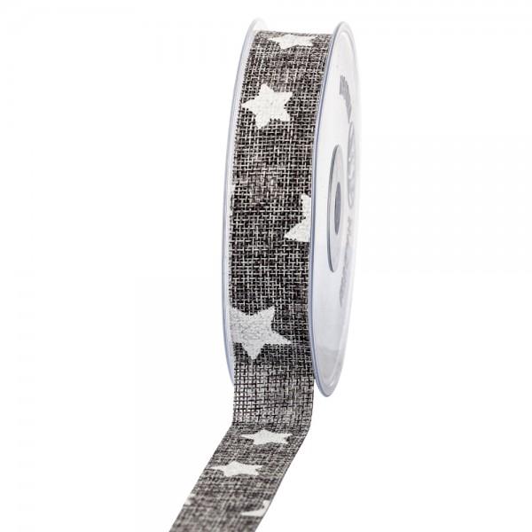 Geschenkband in Juteoptik Grau/Sterne weiß 25mm 20m