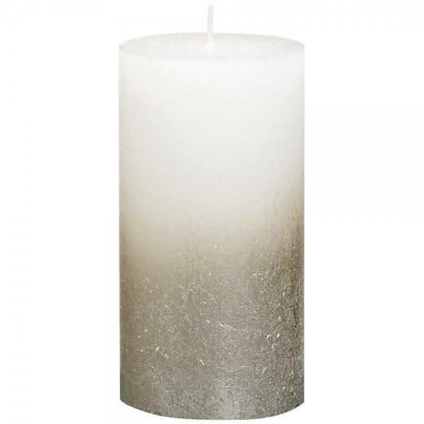 Stumpenkerze Rustik 13cm Ø 6,8cm Weiß mit Metallic silber