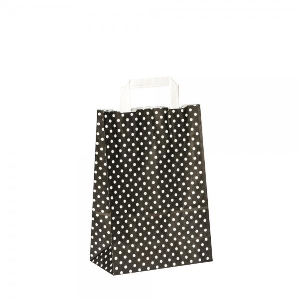 Papiertragetaschen Punkte 22x10x31cm schwarz
