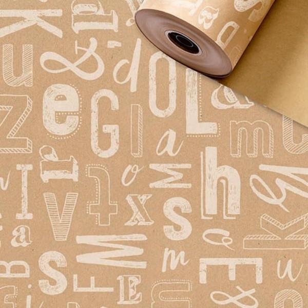Geschenkpapier Rolle 50cm 250Meter Arlo braun