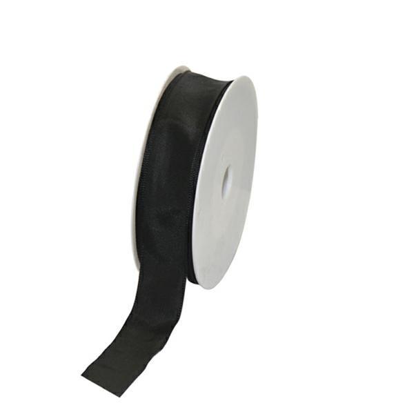 Geschenkband Stoff m. Draht 25mm/25Meter schwarz