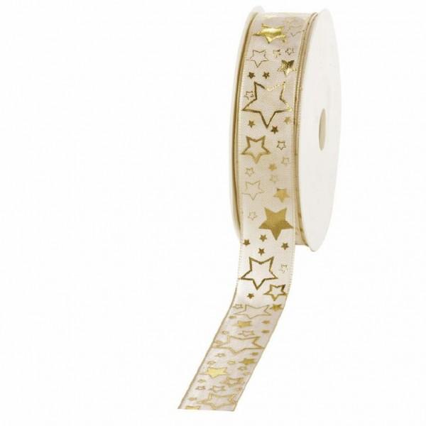 """Geschenkband """"Starlet"""" creme/gold 25mm 25m"""