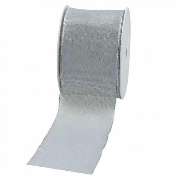Geschenkband transparent 60mm 20Meter silber