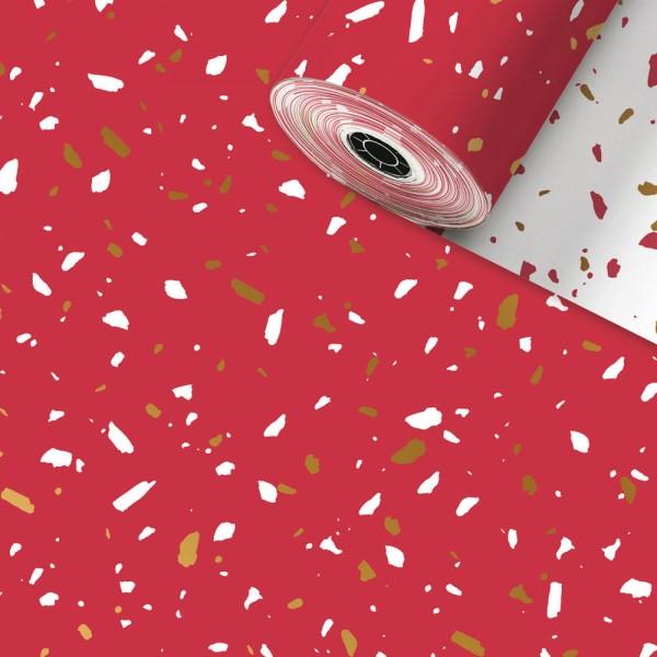 Geschenkpapier Rolle 50cm 250Meter Terazzo Rot