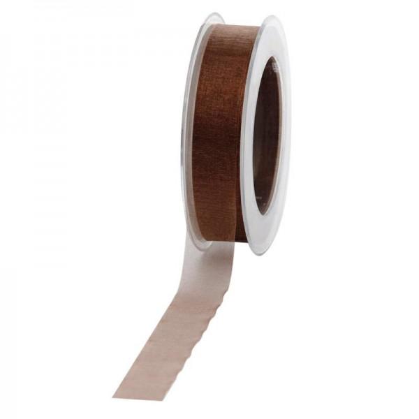 Geschenkband Chiffon 25mm/50Meter braun