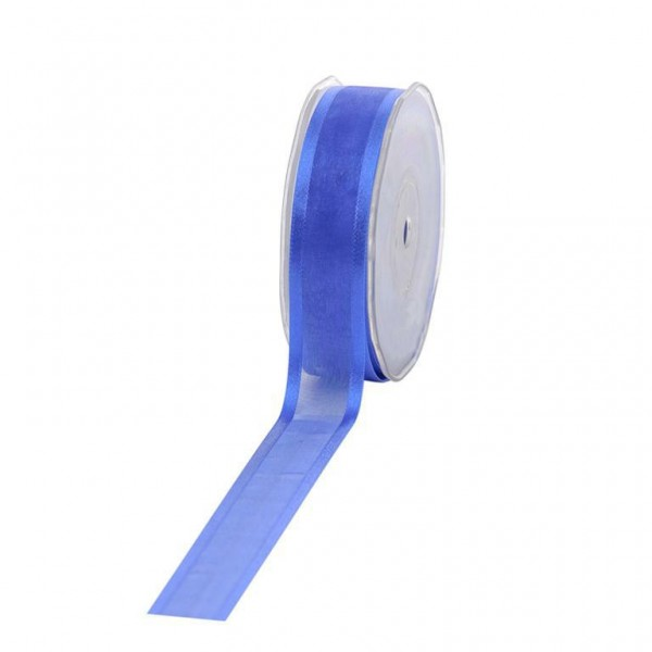 Geschenkband Chiffon Stripes 25mm/25Meter blau