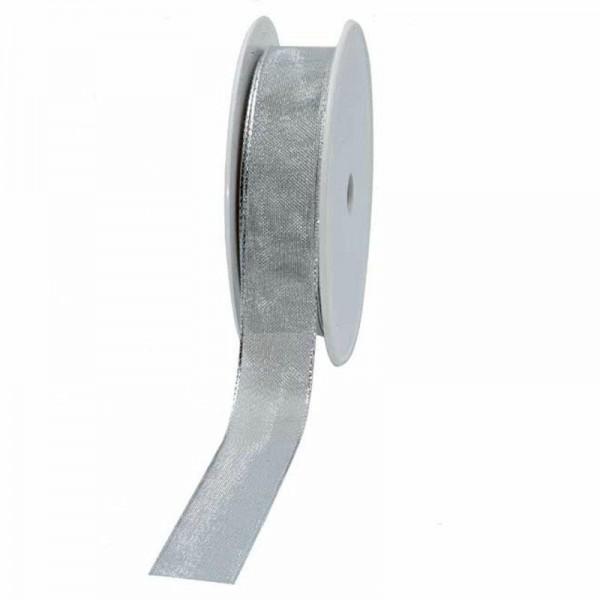 Geschenkband transparent 25mm 25Meter silber