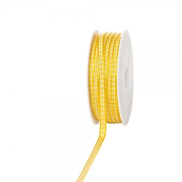 Geschenkband Landhaus kariert 8mm/25 Meter gelb