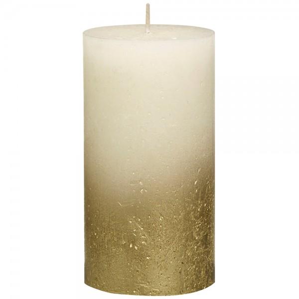 Stumpenkerze Rustik 13cm Ø 6,8cm Creme mit Metallic gold