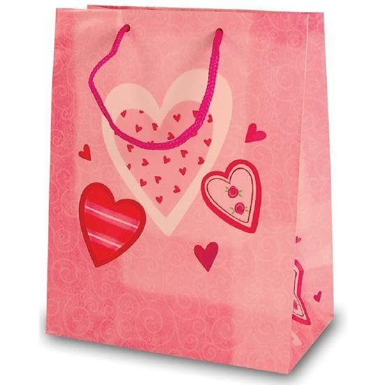 Tragetaschen 3 Herzen rosa 18x10x23 cm