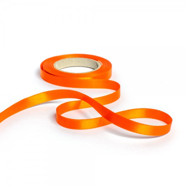Geschenkband mit Druck 10mm breit 100 Meter orange