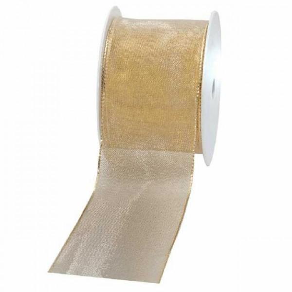 Geschenkband transparent 60mm 20Meter gold