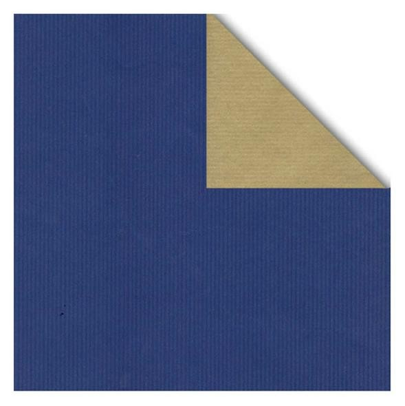 Geschenkpapier Rolle 50cm 50Meter 2-seitig blau/gold