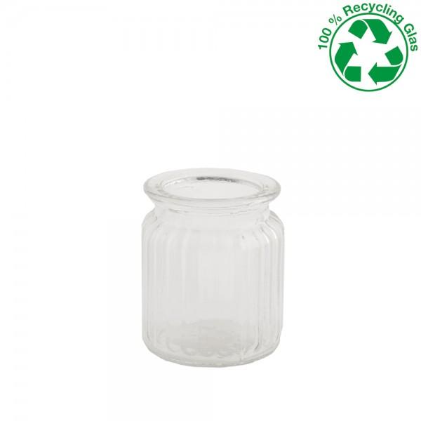 Glas Vase gerippt Höhe 9cm Ø 7,5cm