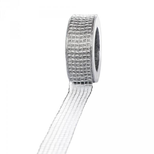Geschenkband Gitter 40mm/25 meter grau