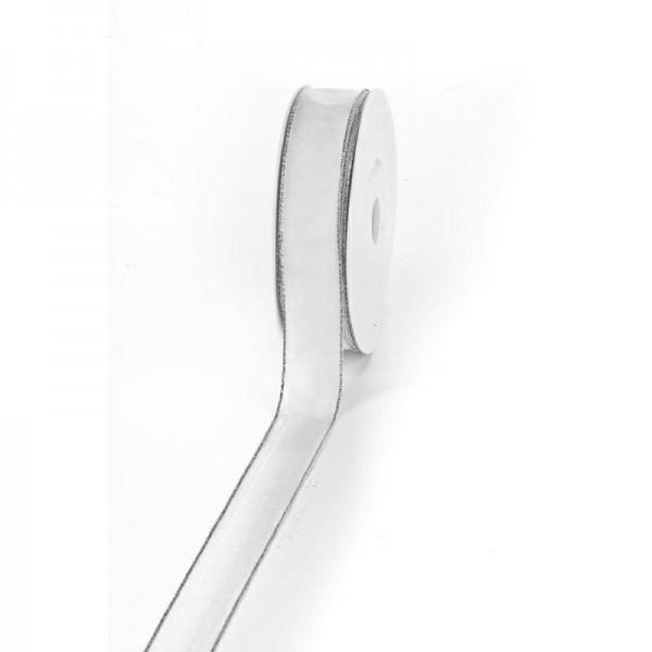 "Geschenkband ""Silberkante"" weiß 25mm 25m"
