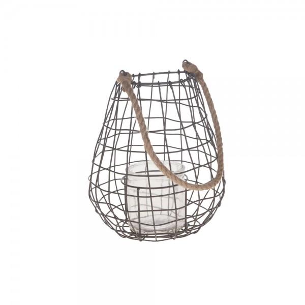 Metall Laterne Lili mit Glas und Jutekordel 22x22x25 cm