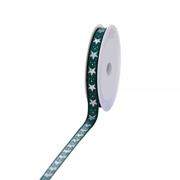 Geschenkband Lux Sterne grün/silber 15mm 20m