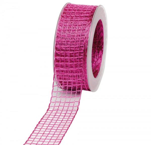 Geschenkband Gitter 40mm/20Meter pink