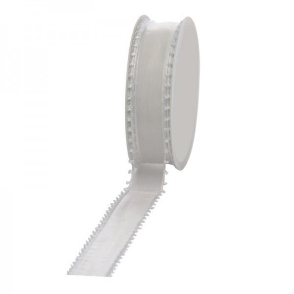 Geschenkband Schlaufen 12mm/20Meter weiß