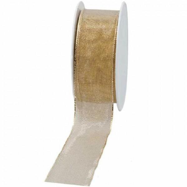 Geschenkband transparent 40mm 25Meter gold